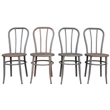 Set of 4 Raw Steel William V. Willis Company Chairs c1910