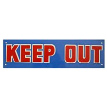 Mid-Century NOS Keep Out Sign in Blue c1965