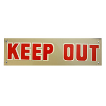 Mid-Century NOS Keep Out Sign in Silver c1965