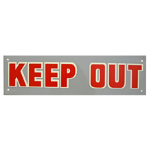 Mid-Century NOS Keep Out Sign in Grey c1965
