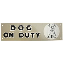 Mid-Century NOS Dog on Duty Sign in Silver c1965