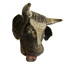 Hand-Carved Folk Art Cow Head c1925