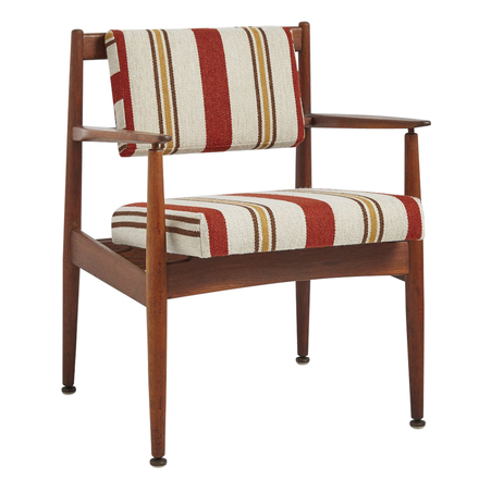Walnut Jens Risom Chair Model C160 w/ Newly Upholstered Cushions