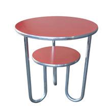 Aluminum and Linoleum Side Table w/ Tubular Base c1955
