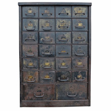 Solid Steel 26-Drawer Bankers Cabinet c1915