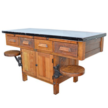 Industrial Table w/ Swing Out Stools c1945