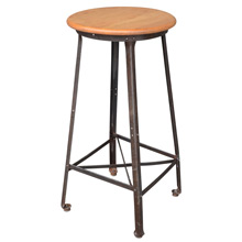Tall Industrial Stool w/ Maple Seat c1920