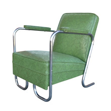 Tubular Chrome and Green Vinyl Lounge Chair c1950s