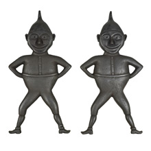 Pair of Cast Iron Brownie Andirons by Freihofer c1890s