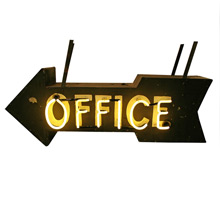 Black Double Sided Neon Office Sign C1940s