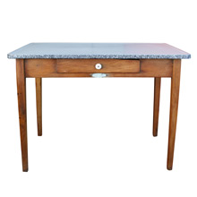 Rustic Wooden Kitchen Table W/ Enamel Top by Sellers C1925