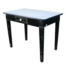 Rustic Kitchen Table W/ Steel Base & Enamel Top C1930