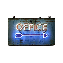Worn and Rusted Streamline Neon Office Sign C1940s
