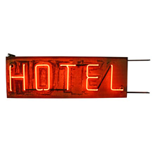 Double-Sided Red Neon Hotel Sign C1940