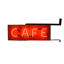 Double Sided Red Neon Cafe Sign C1950