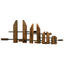 Collection of Four Rustic Wooden Clamps C1935