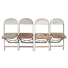 Set of 4 Metal Folding Chairs W/ Star Motif C1940s
