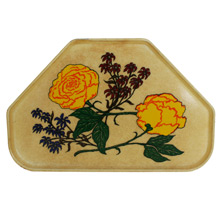 Mid-Century Fiberglass Cafeteria Tray W/ Floral Motif C1960s