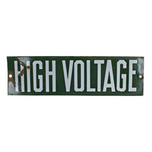 Green Porcelain Enamel High Voltage Sign C1930s