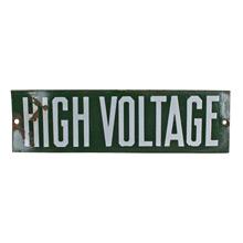 Green Porcelain Enamel High Voltage Sign C1930s