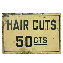 Mid-Century Hair Cuts Sign C1960