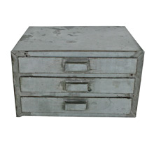 Rustic Silver Three-Drawer Parts Cabinet C1940