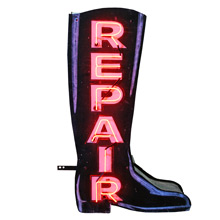 Magnificent Double-Sided Neon Boot Repair Sign C1940