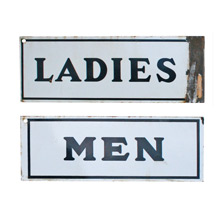 Pair of Porcelain Restroom Signs C1930s