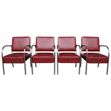 Set of Four Maroon Vinyl and Chrome Barber Shop Chairs C1945