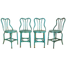 Set of 4 Turquoise Blue Toledo Cafe Chairs C1930