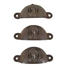 Set of 3 Cast Iron Bin Pulls w/ Joan of Arc Motif c1890s