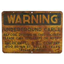 Weathered Roadside Warning Sign C1940s