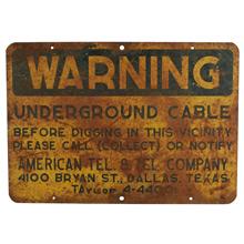 Weathered Roadside Warning Sign C1940s