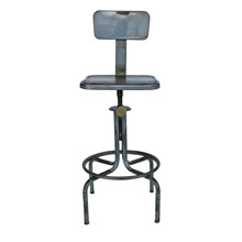 Weathered Adjustable Height Factory Stool C1920s