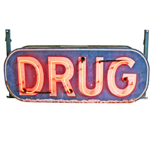 Double-Sided Neon Drug Store Sign C1950