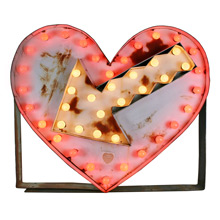 Giant Flashing Heart Carnival Sign C1960