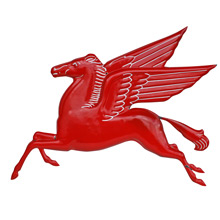 Beautiful Embossed Mobil Gas Pegasus Sign C1930s