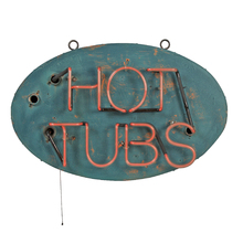 Mid-Century Neon Hot Tubs Motel Sign c1965
