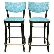 Pair of Atomic Age Counter Stools W/ Turquoise Upholstery C1960