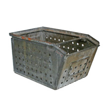 Vintage Galvanized Storage Basket