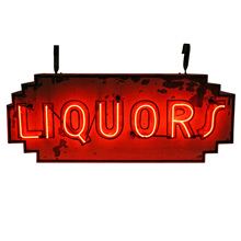 Double Sided Deco Red Neon Liquors Sign C1945