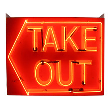 Mid-Century Double-Sided Neon Take Out Sign C1960