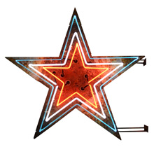 Red, White & Blue Double-Sided Neon Star Sign c1940