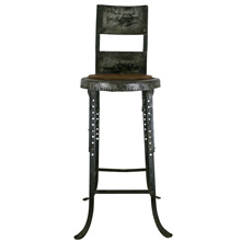 Industrial Adjustable Stool W/ Oak Seat C1920