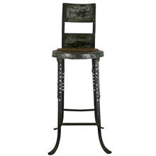 Industrial Adjustable Stool W/ Oak Seat C1920