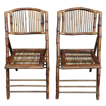 Pair of Mid-Century Tiki Lounge Folding Chairs C1955