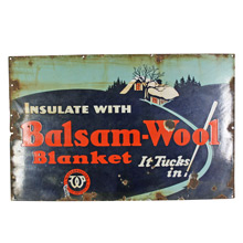 Porcelain Enamel Balsam-Wool Insulation Sign C1940