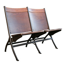 Fort Dix Walnut and Steel Tandem Folding Chairs, C1955