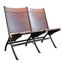 Fort Dix Walnut and Steel Tandem Folding Chairs, C1955