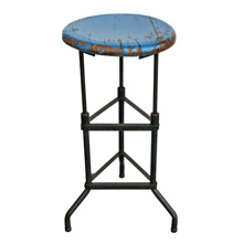 Industrial Tripod Stool W/ Blue Painted Seat C1935